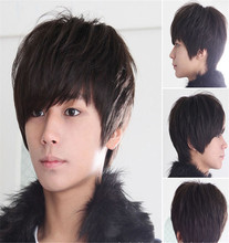 3 Color Mens Boys New Trendy Short Straight Black/Brown Wig Cosplay  Korean Men's Short  Male Hair Cosplay Wigs Price
