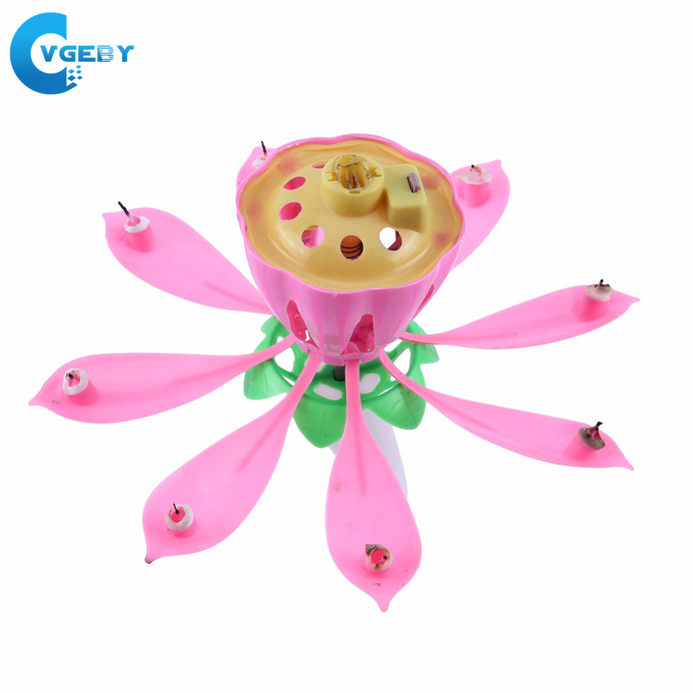 Birthday Candles Magical Flower Happy Birthday Blossom Lotus Musical Candle Romantic Party Gift Rotating Lights Decor Lamp(China)