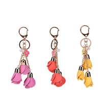 YITING PU Leather Tassels Keychain Bag Pendant Car Ornaments Creative Gifts Long Key Chain Buckle Key Ring Gifts