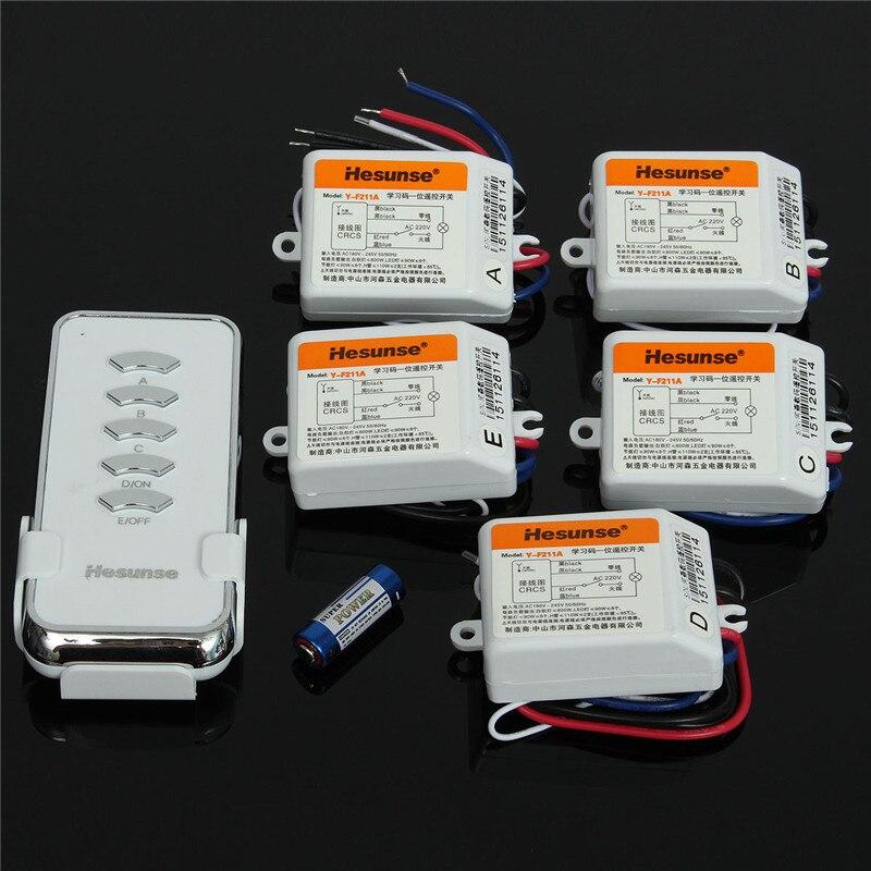 Y-F211A1N5 220V 5 Ch RF Digital Wireless Remote Control Light Switch 2 Remote Control And Receiver 110V 315mhz<br>