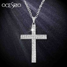 OCESRIO Silver Big Cross Necklaces & Pendants Long Pendant Necklaces Hip Hop Jewelry for Women Men Jesus Piece Chain nke-g80(China)