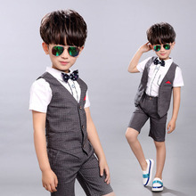 2017 Summer Kids Wedding Suit Boys Vest+Pants 2 pieces/set Children Cotton Costume Toddler Baby Boys Blazer Clothing Set EB152(China)