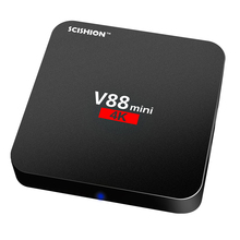 V88 mini Smart Android 6.0 TV Box RK3229 Quad Core 1GB / 8GB 100M LAN MINI PC 2.4G WIFI Router H.265 VP9 UHD 4K Media Player