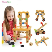 New Lubanjiang chair multifunctional tool nut wire combination child puzzle assembling wooden blocks toy(China)