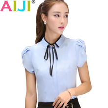 Buy Women shirt short sleeve clothes OL Temperament business formal slim bow chiffon blouse office ladies plus size work wear tops for $12.66 in AliExpress store