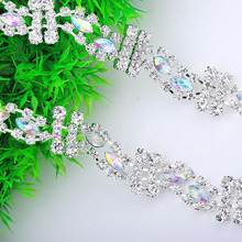 5Yards Crystal Rhinestone Trim DIY Sew On Silver Plating Strass Metal Diamond Chains Rhinestone Trimming Clothing Accessories