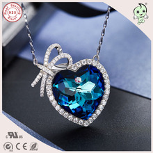 Good Quality Luxurious Valentines Gift 925 Sterling Silver Love Bowknot Heart Swarovski Stone Pendant  Necklace For Girlfriend
