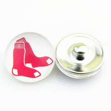 20pcs/lot New Fashion MLB Boston Red Sox Team Logo Baseball Fans Snap Button for 18mm Snap Bracelet Jewelry(China)