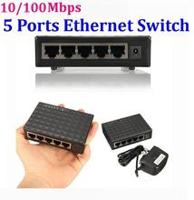 10/100Mbps 5 Ports Ethernet Switch Network Switch Hub Plastic Mini Desktop High Performance Smart Adapter * 120set/lot