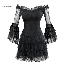 Charmian Women's Sexy Floral Lace Off-Shoulder Mini Dress Black Three Quarter Sleeve Flare Sleeve Gothic Punk Dress Vestidos(China)