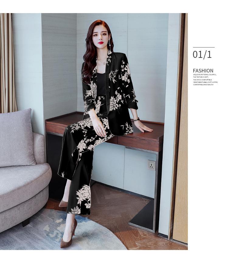 YASUGUOJI New 2019 Spring Fashion Floral Print Pants Suits Elegant Woman Wide-leg Trouser Suits Set 2 Pieces Pantsuit Women 31 Online shopping Bangladesh