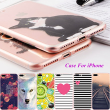 Cartoon Animals Soft TPU Painted Back Cases For iPhone 4 4S 5 5S SE 6 6S 7 Plus Cell Phone Case Cover Flowers Fruits Fundas Capa