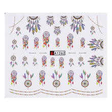 12 Different Styles 1 Big Sheet Nail Stickers National Ornaments Watermark Nail Art Stickers Decal Dreamcatcher Water Transfer
