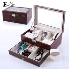 High-Grade double-layer storage box for watches jewelry box Leather organizer Armoire Bracelet Rings Beads Packaging Boxes(China)
