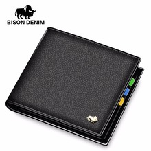 BISON DENIM Leather Men Wallet Brand Luxury Leather Wallets Office Male Wallet Mature Man Bifold Wallet 2017 Small Purse n4470-3(China)