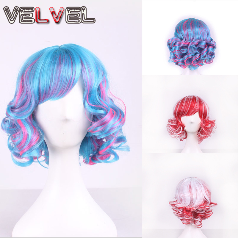 Lolita Red Mix White/Blue Mix Rose Red Short Curly Hair Wigs Women High Quality Harajuku Anime Cosplay Party Wig+Free wig cap<br><br>Aliexpress
