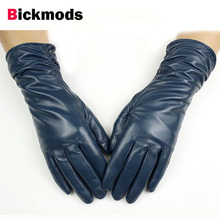 Female leather gloves lengthened elastic style sheepskin gloves a variety of colors gold velvet lining warm autumn and winter(China)