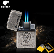 COHIBA metal gas cigar lighters, 2 jet turbo Windproof inflatable lighter,Cuba Che Guevara akmak(China)