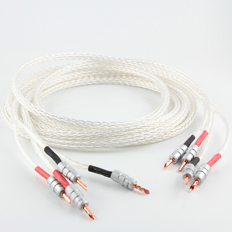 pair 8AG 8N single crystal silver Plated Speaker Cable Banana Plug loudspeaker cable  FOR HIFI amplifier