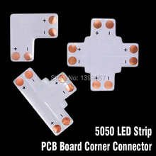 50pcs LED Strip L T X Type Corner Solderless PCB Connectors for smd 5050 10mm 2 Pin Direction Changing Use(China)