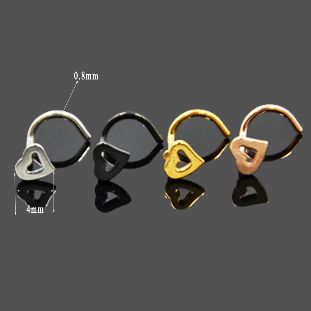 Surgical Steel Nose Studs Stud Bone Flower Screw Nose Piercing Bar Pin 4mm gem