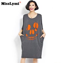 4XL 5XL 6XL Plus Size Women Dresses 2017 New Summer American Apparel Hollow Out Halloween Face Loose Casual Cotton T-shirt Dress