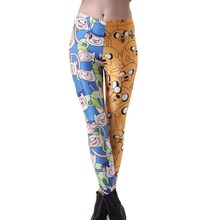 Elastic Casual Pants Digital Printing Yellow and blue mix Pattern Women Leggings 7 sizes Fitness Clothing(China)