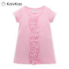 Kavkas 2017 New Kids Girls Tshirt Summer Child Clothing Childrens Tops Summer Clothes Short Sleeve Tee Blouse Shirts Cartoon Kid