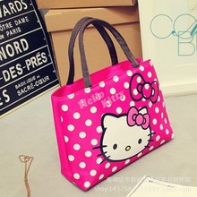 Cartoon Hello Kitty Cats Printed Female Shopping Tote Bag Big Canvas Handbag Women's One Shoulder Crossbody Bag Portable Sac