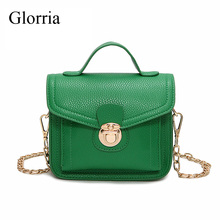 Glorria Mini Flap Women Bag Pu Leather Chain Women Crossbody Bags Ladies Party Shoulder Messenger Bag Female Sling Purse Green(China)