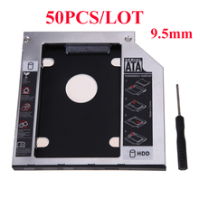 "50PCS Aluminum SATA 3.0 2nd HDD Caddy 9.5mm for 2.5"" SSD Case HDD Enclosure with Panel for Laptop DVD CD-ROM Optibay(China)"