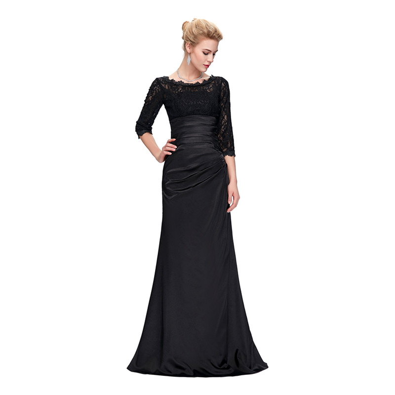 Grace Karin Lace Evening Dress 3/4 Sleeves O-neck Satin Pleated Black Special Occasion Dresses Robe De Soiree Longue 6