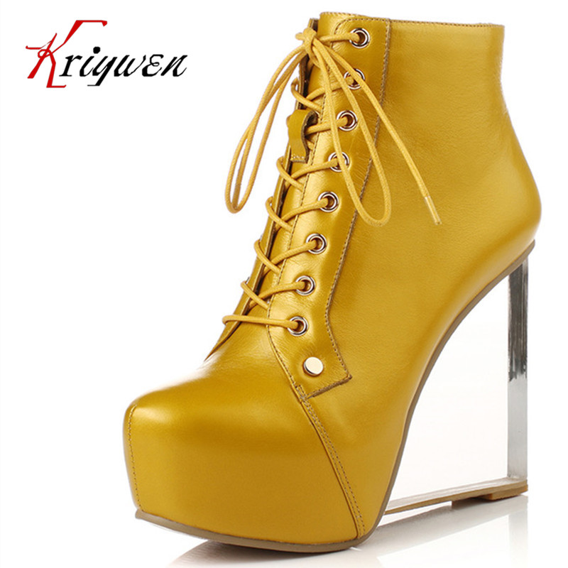 Real Full grain leather ankle boots size 33-41 round toe 5colors lace up knot platforms motorcycle boots 13cm high heel shoes<br><br>Aliexpress
