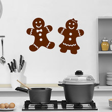 Gingerbread Wall Decal Kitchen Art Mural Cute Vinyl Wall Stickers Cookie Pattern Man And Woman Modern Holiday Home Decor SYY976