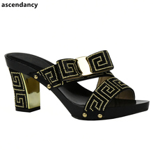 Black Italian Ladies Sexy High Heels Pumps New Arrival Colorful Rhinestones Design Ladies Pumps African Sandal Shoes for Party(China)