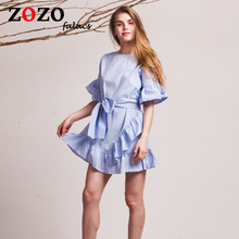 Falacs Zozo Women Summer Dresses Prairie Chic Fashion Casual Cute Trumpet Bow Slashes Mini Flare Sleeve Blue Dress Vestidos