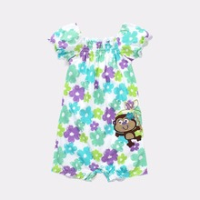 Flower Baby Clothes Rompers Girls Dresses Monkey Embroidery Logo Jumping Beans Infant Jumpsuits Short Sleeve Shirts
