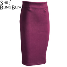 SheBlingBling Fashion Women Empire Skirts Wear to Work Casual Pencil Skirt 2017 Spring Faux Suede High Waist Packet Hip Skirts