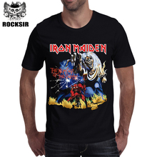 Rocksir 2017 classic design band series men's t-shirt IRON MAIDEN the momber of the beast men clothing short sleeve t shirt men