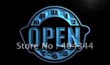 LK787- OPEN Happy Hour Clock Bar Beer LED Neon Light Sign home decor crafts(China)