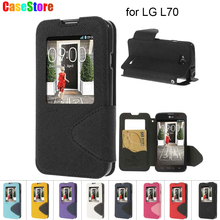 for LG L70 Case Roar Korea Smart View Window Flip Leathe Cases Phone Cover Bag for LG L70 D320 D325  With Card Holder + Package