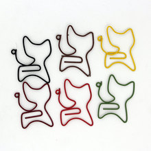 12PC/set candy color cat shape Paper Clips Cute Kawaii Bookmark Memo Clip For Office School Supplies Stationery random color(China)