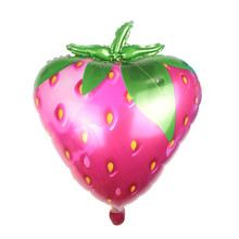 XXPWJ Free Shipping Large new green leaves strawberries aluminum balloons toys for children birthday party balloons G-006(China)