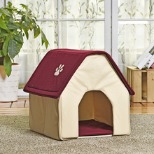 HOT!! Dog Bed Cama Para Cachorro Soft Dog House+Blanket Option Pet Cat Dog Home Shape 2 Colors Red/Green Puppy Kennel Soft(China)