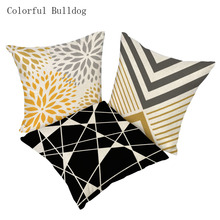wholesale black yellow geometry series style Linen cushion cover Home Decorative Sofa Car bedding cojines pillow case(China)