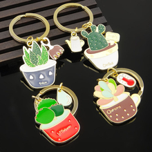 New Cute Potted Plant Cactus Shape Key Ring Keychains Keyrings Chain for Women Bag Charm Pendant Jewelry(China)