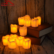 12pcs Flameless LED Electric Battery Powered Tealight Candles Yellow Tea Light Home Dinner Room Party Decor By Free Shipping(China)