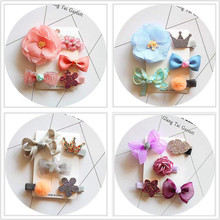 NEW Adorable Hair clips kids Cartoon mushroom Flowers Bowknot Hairpins Barrette Cute Crown hair Accessories for girls T15(China)