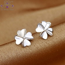 Authentic 925 Sterling Silver Simple 4 Leaf Clovers Love Heart Flower Small Stud Earrings For Woman Young Ladies Girls Jewelry