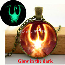 Glowing Pendant  Song Of  And Fire Game Of Thrones Firebird Dragon Necklace  glass art photo glow in the dark necklace